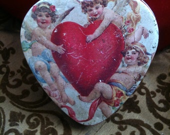 Vintage Heart Shaped Tin Angels and Cupids