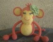 Crochet Baby Girl Monkey w/ Flower, Persimmon Orange Yellow Blue Eyes vegan plush toy doll amigurumi stuffed animal gift MADE TO ORDER