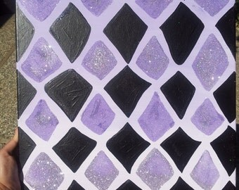 "Lilac and Black Diamond + Silver Geometric Painting,  Acrylic on Canvas, 16""x20"""