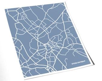 Stoke-on-Trent City Map Art Print / England UK Wall Art / 8x10 Print / Choose your color