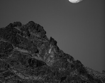 Mountain photography. Rocky landscape full moon black and white art print. Moody sci fi style wall art. Nature night Rustic home decor photo