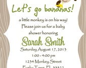 Monkey Baby Shower Invitation Template 4x6 - Boy