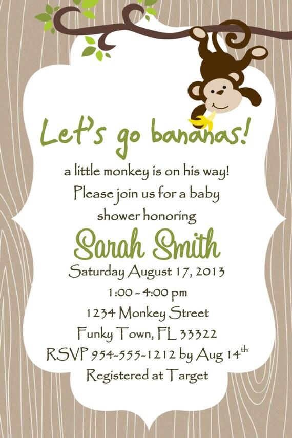 monkey baby shower invitation template 4x6 boy