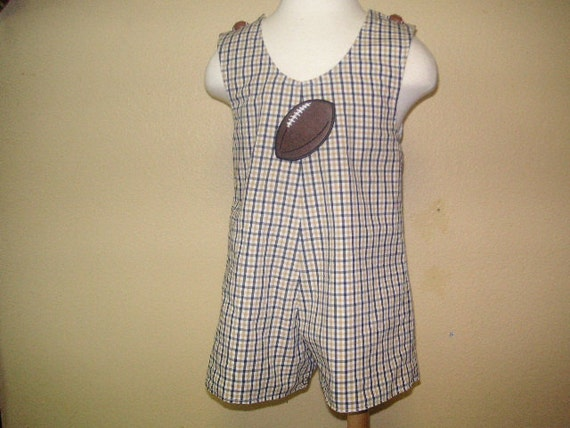 New Orleans Saints Baby Boy Clothing of Black and Gold Plaid Jon Jon w with Football Iron-On Applique