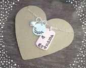 Personalized Grandma Jewelry Gift - Hand Stamped Grandma Charm Name Necklace