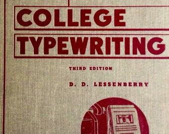 Antique Instructional Book 'College Typewriting,' Third Edition 1941