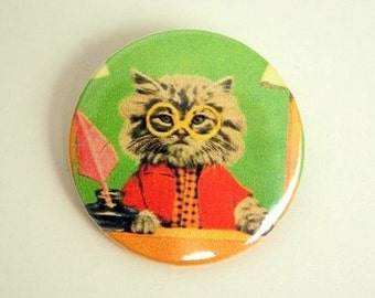 Mr lawyer cat - button badge or magnet 1.5 Inch