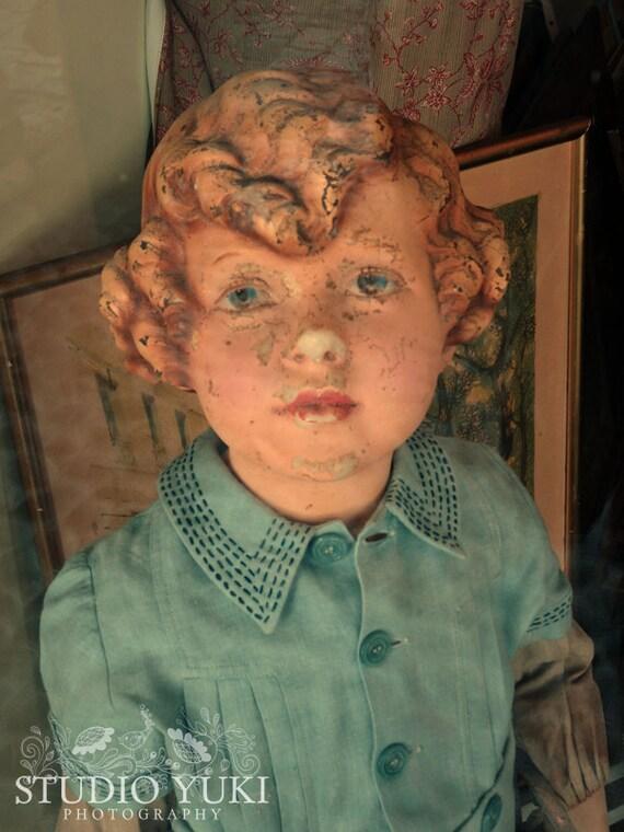 France photography - French Vintage Shop Window Little Girl Doll - Fine Art Print 8x12 - Signed Art - Sweet-eye Shirley
