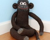 Sock Monkey Doll / Chocolate Brown / 20 inches