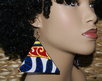 The Pyramids - Large Triangle Vlisco African Fabric Covered Dangle Earrings