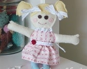 Allie Smallie Dolly - Floppy Felt Doll - A Perfect Holiday Gift - 100% hand stitched