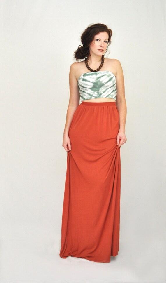 maxi skirt flowy high waist maxi skirt dyed by sewred