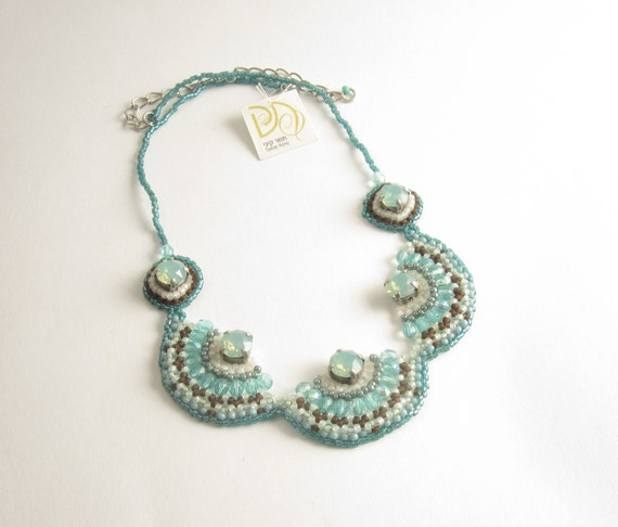 Aqua necklace jewelry beadwork handmade light blue turquoise and brown