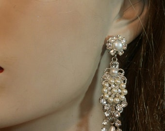 Bridal Earrings Chandelier Silver Victorian Chandelier Earrings Rhinestone Pearl Wedding pearl Earrings Statement Earrings Vintage Earrings