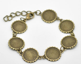 Cabochon Setting Bracelet Bronze Frame Link Connector - 8 1/4 Inch (Holds 16mm)  - Ships IMMEDIATELY  from California - CH253