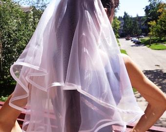Bachelorette party Veil 2-tier white, long length. Bridal shower veil, bachelorette veil, wedding veil, hen party veil, bachelorette idea