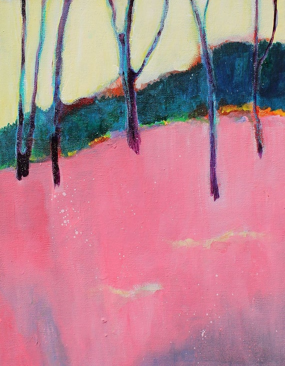"Landscape Abstract Painting Modern Art Canvas ""Pink Spring Walk"""