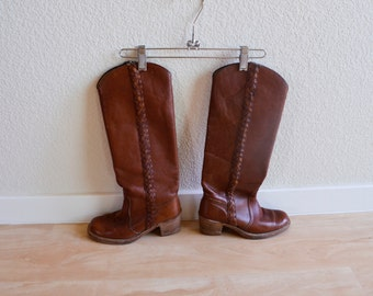 1970s FRYE wood stacked heels country western brown leather boots