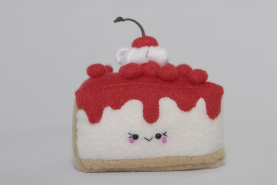 Squishy Cake Slice : Cherry Cheese Cake Plush-Kawaii-Squishy-Slice Cake Plush-Food