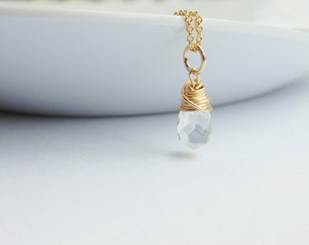 Clear faceted quartz faceted teardrop wire wrapped pendant charm 14ct gold filled chain necklace