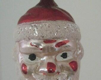 Vintage Blown Glass Santa Ornament // West Germany