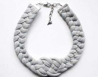 Choker, statement necklace, gifts for her, sailor necklace - The knot necklace - handmade in grey sparkling jersey fabric