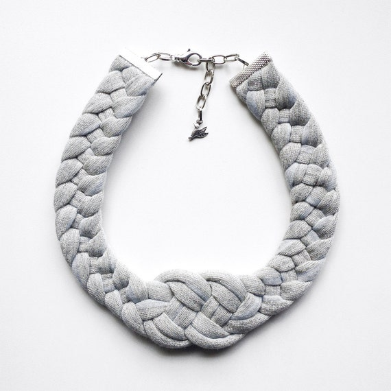 SALE - The knot necklace - handmade in grey sparkling jersey fabric