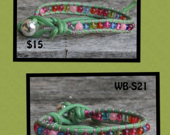 SALE - WB-S21 single beaded wrap bracelet - waxed cotton cord with multi colored glass beads