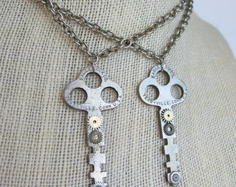 Matching Steampunk Necklaces - Best friends necklace - Watch Parts, Old Keys, Vintage, Reused