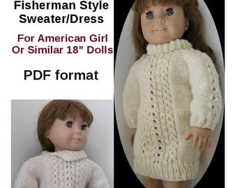 Heartland Homespun Knitting Pattern 14 Top Down Fisherman Style Sweater and Dress for American GIrl or Similar 18 Inch Dolls