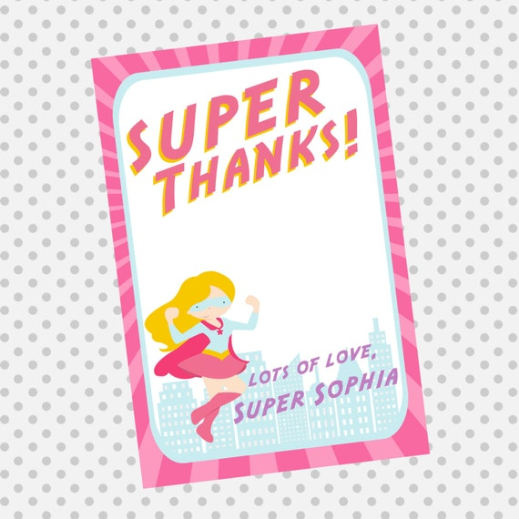 Supergirl Thank You Note Card - Superhero Thank You - super hero for girls - Party Supplies