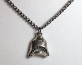Shark week Shark face with moving hinged jaw Pendant on Gunmetal chain or black satin cord. Live every week like shark week