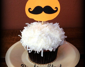 Cupcake Toppers-35 Pumpkin Mustache-Mustache on a Stick- Halloween Party- Little Man Party- Halloween Cupcake toppers- Pumpkin