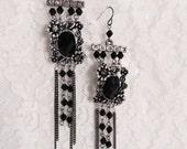 Black and Silver Bead Dangle Earrings
