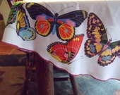 "Round Butterfly Tablecloth, 68"" Ken Scott Signed Tablecloth from Milan Italy"