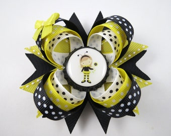 Black and Yellow Bee Hair Bow - Bumble Bee Hair Bow - Black and Yellow Hair Bow - Black Hair Clip - Yellow Hair Clip - Bumble Bee - Bee