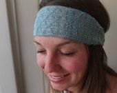 Boho Headband Embroidered Trim Women's Fashion Hair Bands Head Wraps Blue Slip On Style