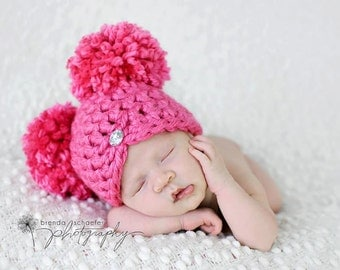 Newborn Baby Girl Hat Pom Pom Hat Chunky Photography Prop Knit Crochet Beanie Photo Prop Infant Girl Hat Purple Chic