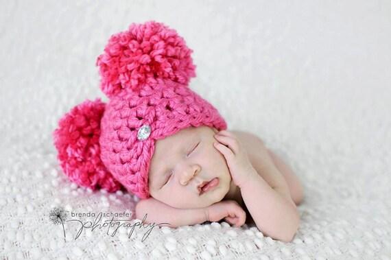 Newborn Baby Girl Hat Pom Pom Hat Chunky Photography Prop Knit Crochet Beanie Photo Prop Infant Girl Hat Purple Chic