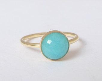 Gold filled Ring with 8mm Amazonite, Turquoise Blue Gemstone Ring, Amazonite Ring