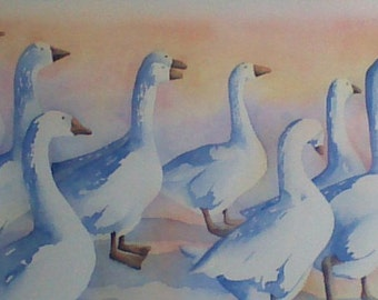Original watercolor painting of a gaggle of geese in blues by Joanne Pattison