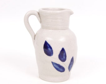 Vintage Williamsburg Pottery Cobalt Blue Stoneware Pitcher Salt Glaze Pottery Handled Jug Floral Motif Made in USA Creamer Vase