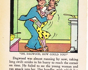 Vintage comic pages, Blondie and Dagwood, 5 comic book pages from 1936, group 7