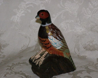 Vintage Chinese Rock Carving of Pheasant Hand-Painted Vibrant Colors  Made in Peoples Republic of China