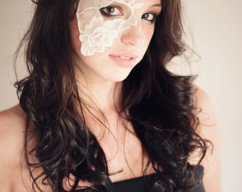 Ivory lace mask for Masquerade Ball , Mardi Gras , Dance Costume , or Costumed Party - Strapless half face lace mask