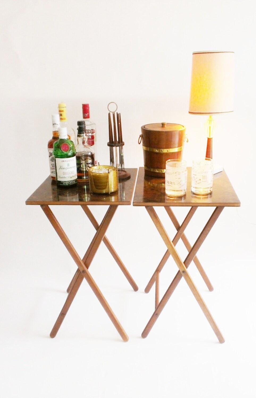 Vintage Folding Table Scheibe TV Tray Burl Wood Portable Bar