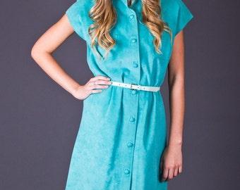 SALE 50% OFF 80s Vintage Ultrasuede Shirt Dress in Mint