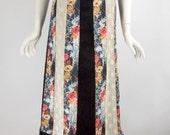Vintage 1970s Maxi Skirt in Velvet, Floral, Lace Patchwork - med, lg
