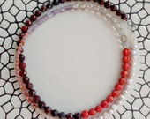 Red Beaded Patchwork Necklace- Reserved for Amy