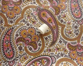 pink and gold paisley vintage cotton fabric -- 36 wide by 1 2/3 yards